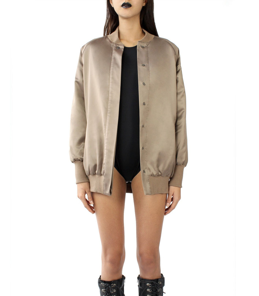 CHAIN MY SOUL Oversized Varsity Jacket (Taupe Brown)