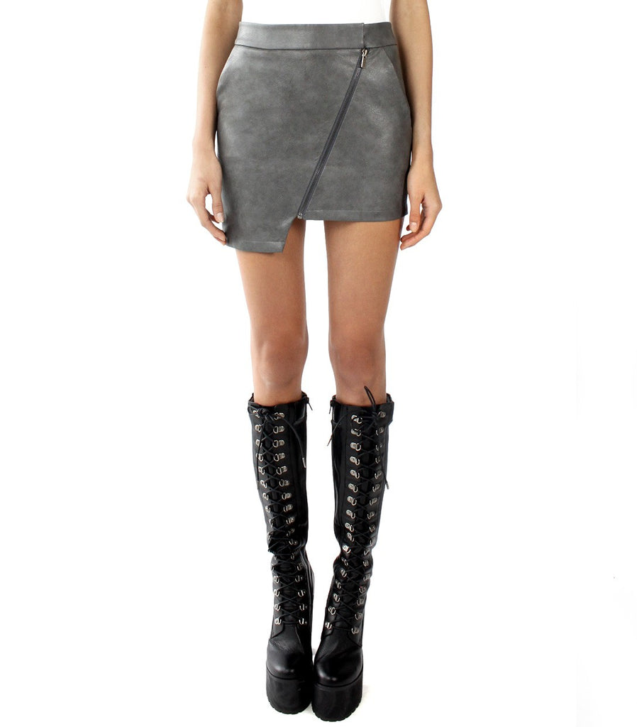 DELLAL Vegan Leather Zip Skirt (Grey)