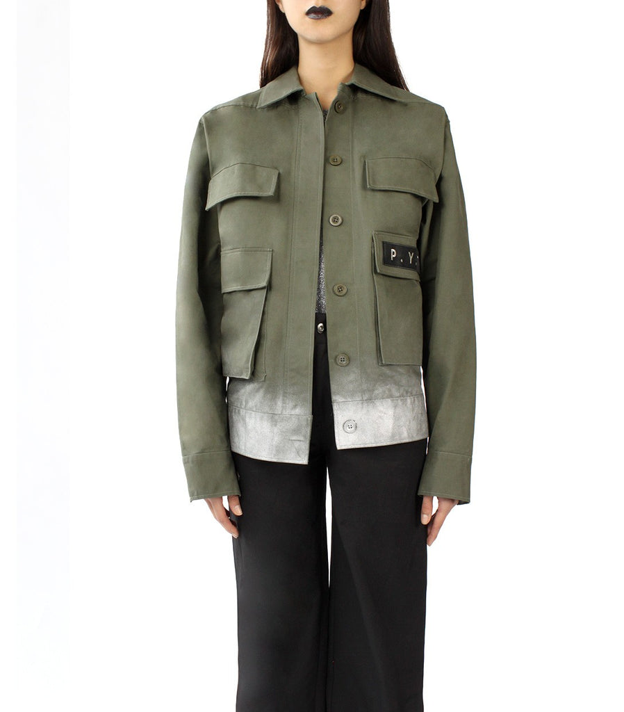 P.Y.T Embellished Oversized Army Jacket (Military Green)