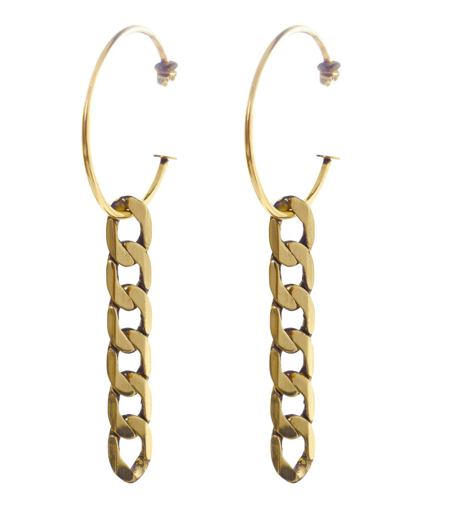 NAOMI Hoop Chain Earrings (Gold)