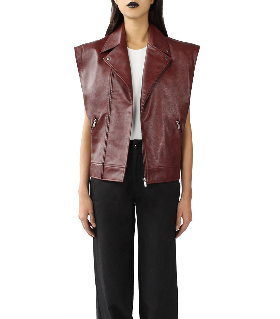 DELLAL Leather Biker Vest (Burgundy)