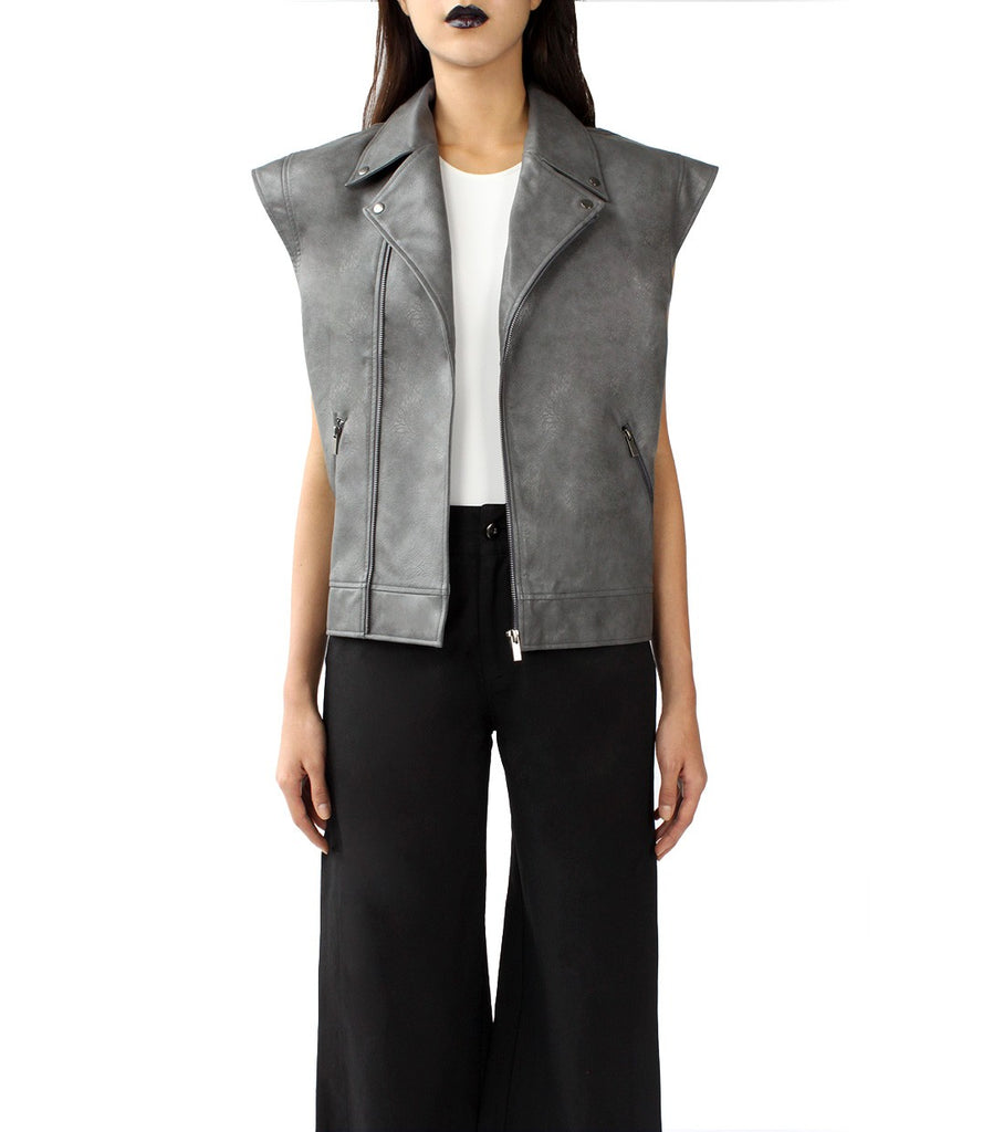 DELLAL Leather Biker Vest (Grey)