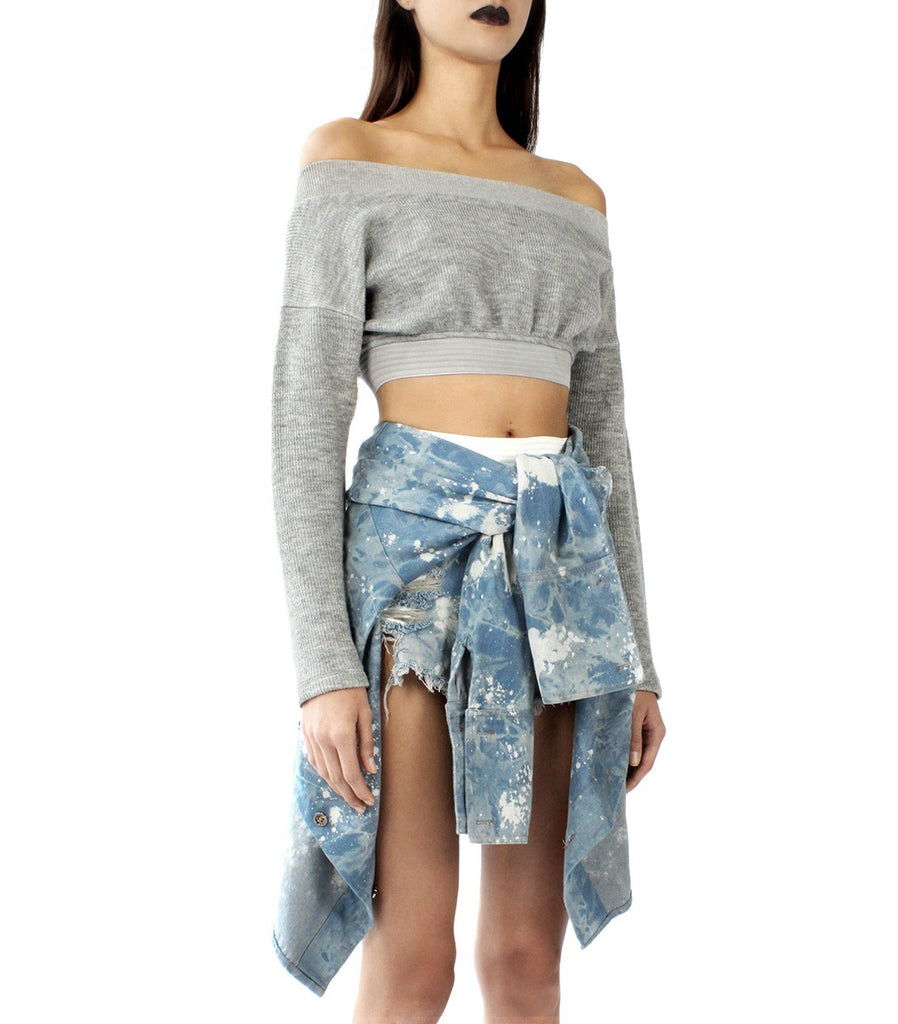 BARDOT Off-Shoulder Crop Sweater (Light Grey)