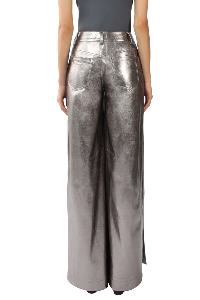 EDIE Slit Pants (Metallic Silver)