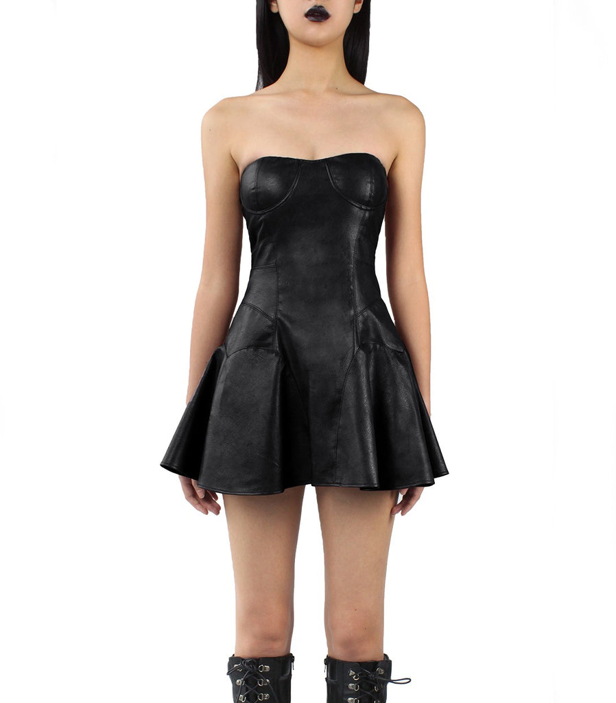 SIENNA Vegan Leather Bustier Dress (Black)