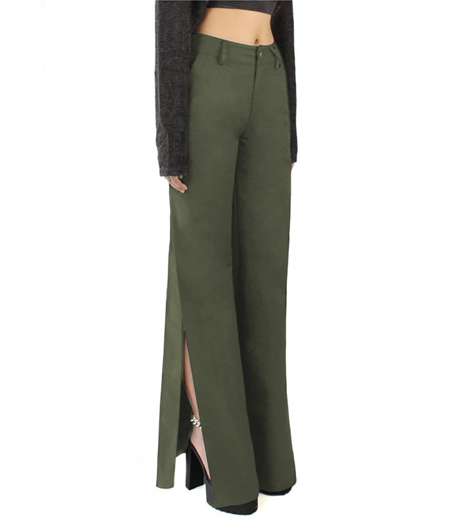 EDIE Slit Pants (Military Green)