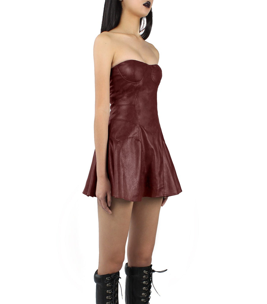 SIENNA Vegan Leather Bustier Dress (Burgundy)