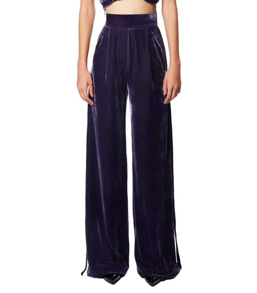 LOU LOU Side-Strapped Velvet Pants