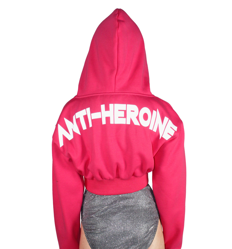 ANTI-HEROINE Reflective Print Hoodie (Hot Pink)