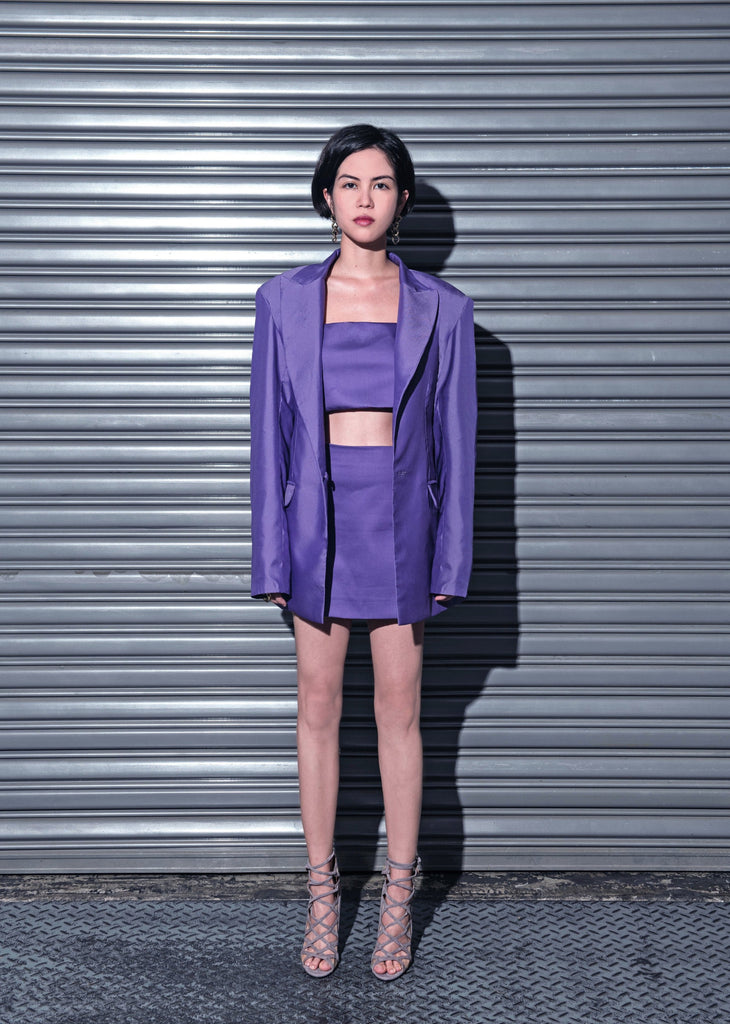 BIANCA Oversized Jacket w/ Sash (Purple)