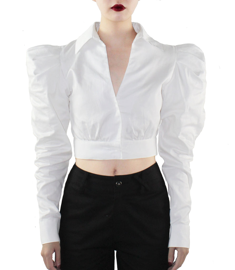 HEARTAGE Pouf Sleeves Shirt (White)