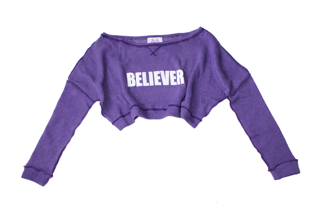 S.H.X VIOLET BELIEVER OFF-SHOULDER TOP