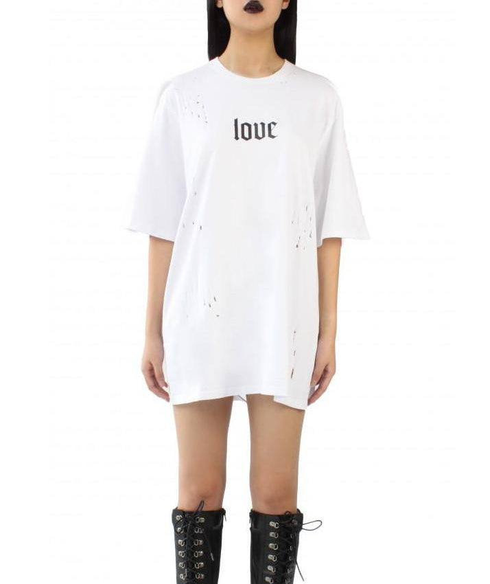 LOVE Distressed Oversized Tee (Black/White)