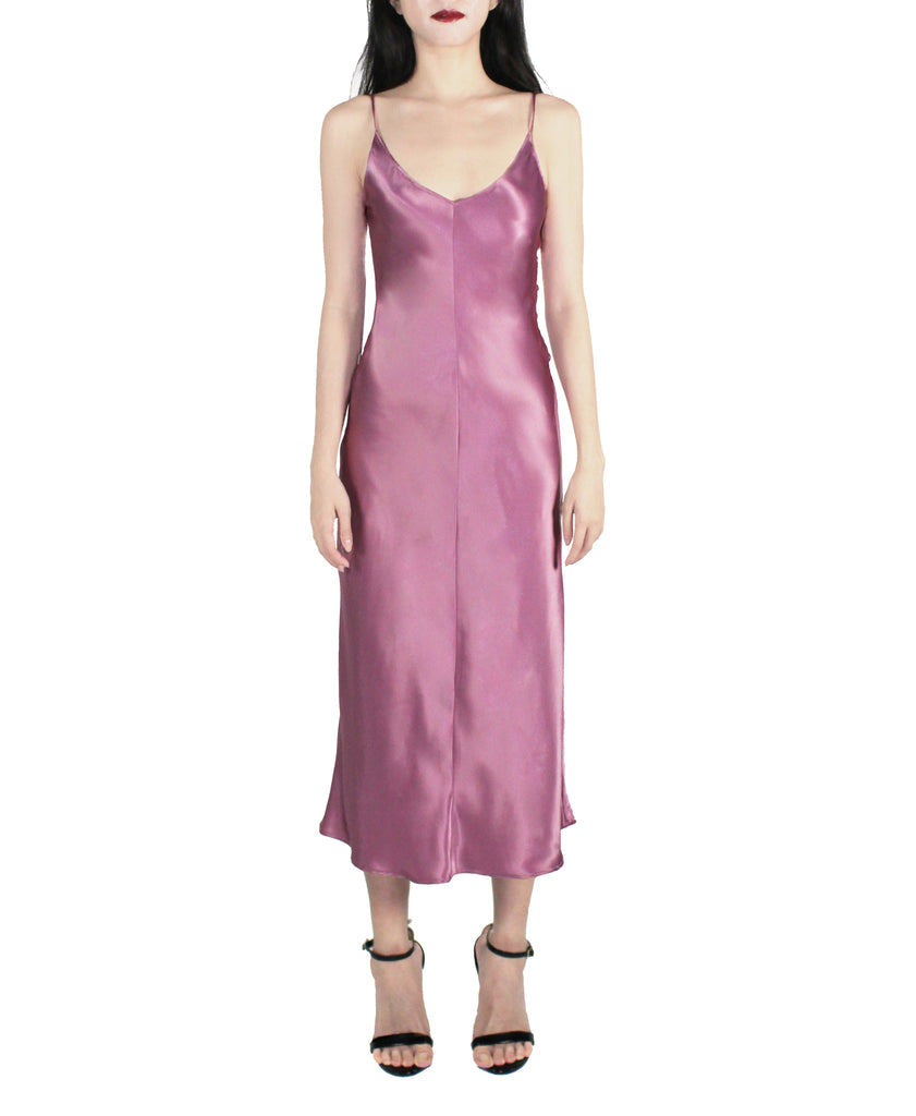 PINK DUSK SATIN SLIP DRESS