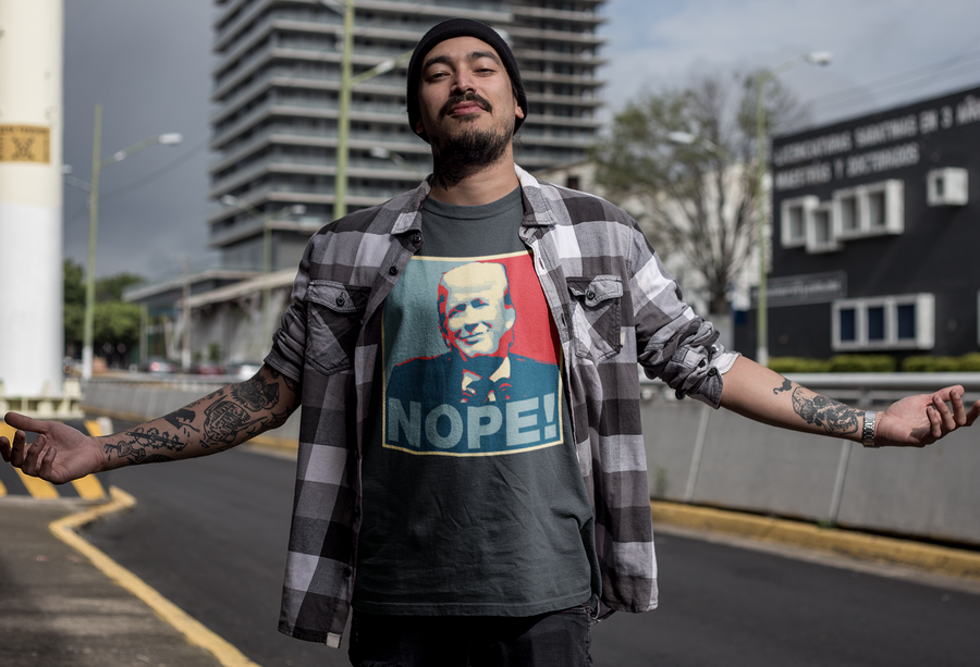 NOPE! Shepard Fairey HOPE parody anti-Trump T-Shirt black