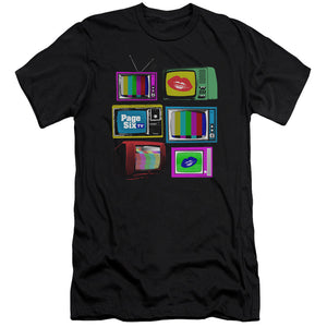 Page Six TV Stacked Televisions Black T-Shirt