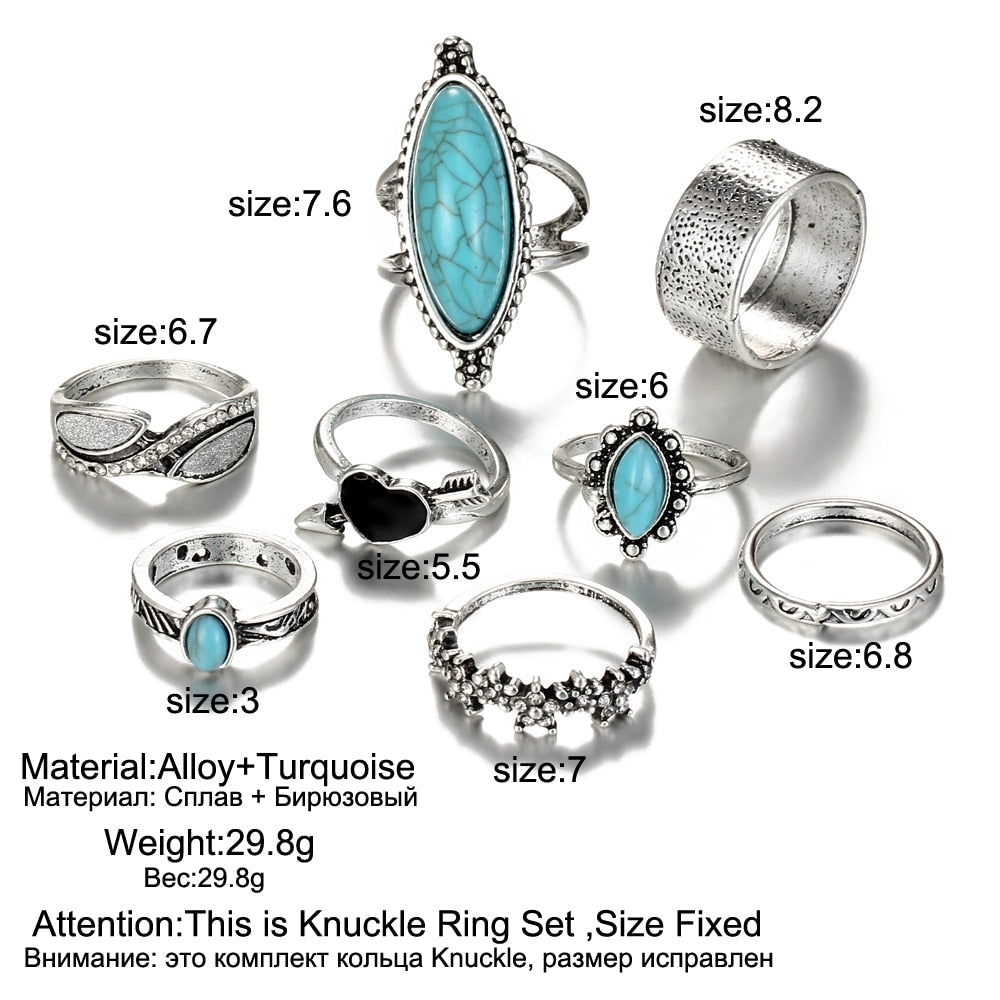 Turquoise Love Boho Knuckle Ring Set