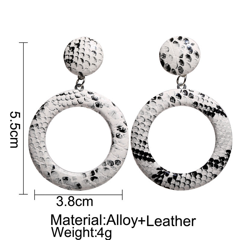 Faux Snake Skin Hoop Drop Earrings