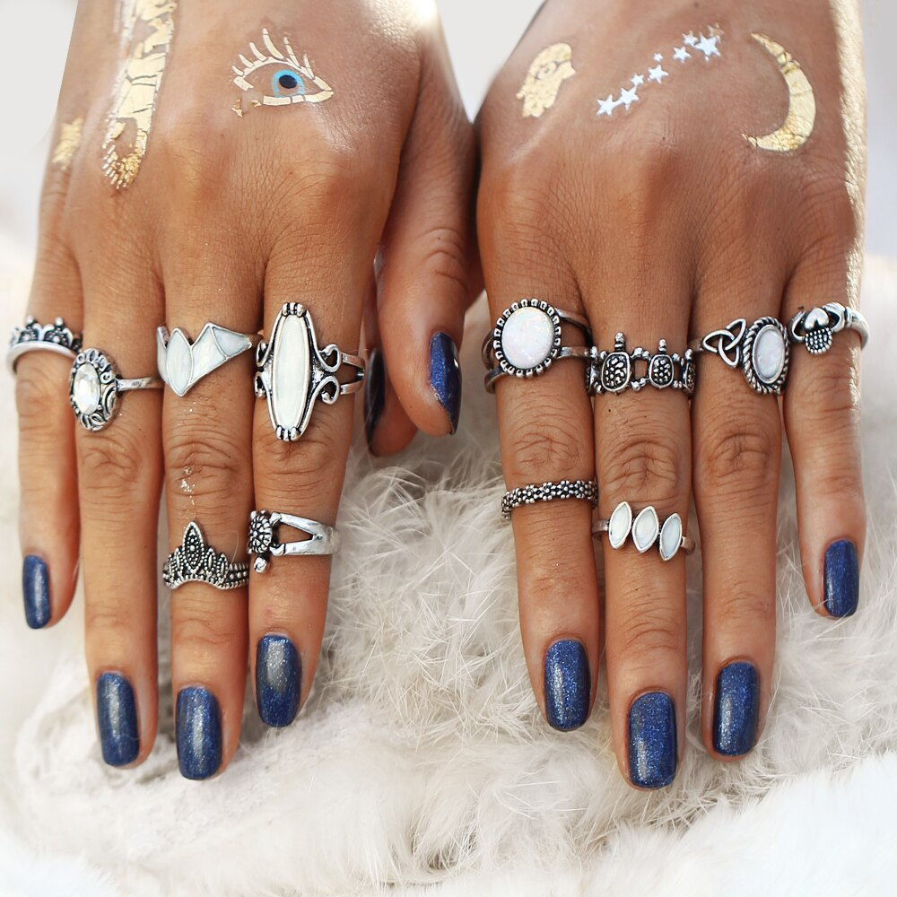 Silver Look Opal Boho Knuckle Ring Set
