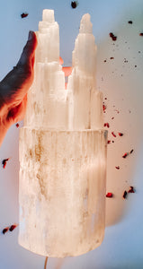 The Empress - Selenite Twin Tower Lamp