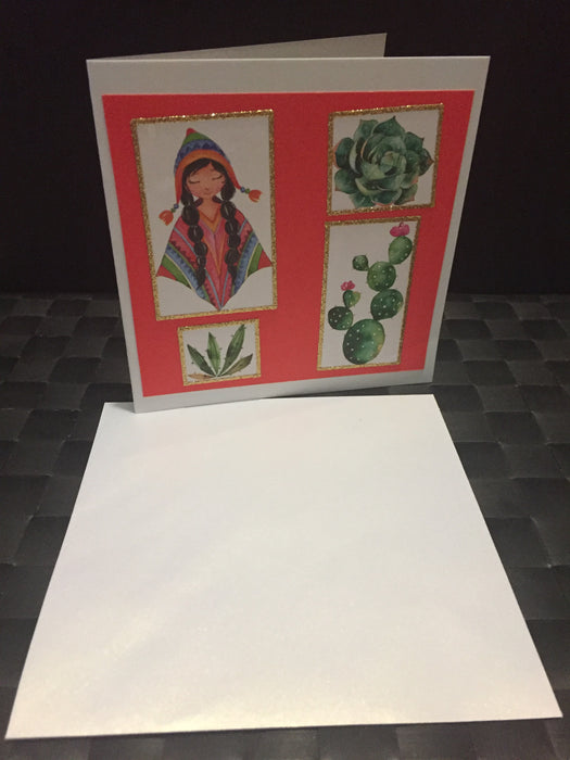 Poncho Girl with Cacti Card