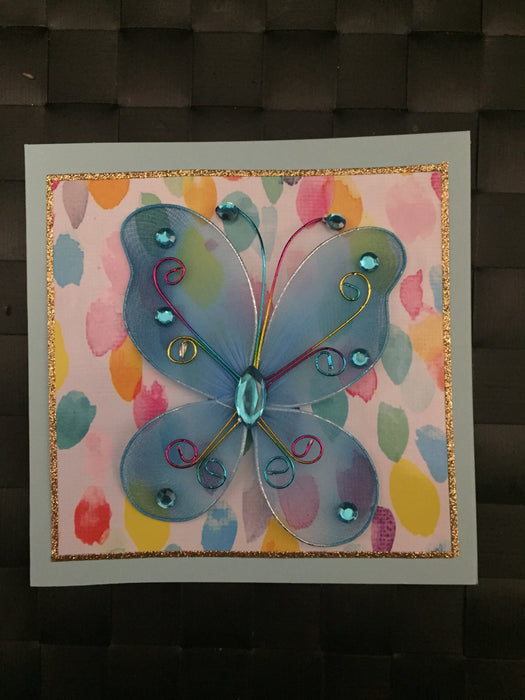 Blue Butterfly with Rainbow Colours Card