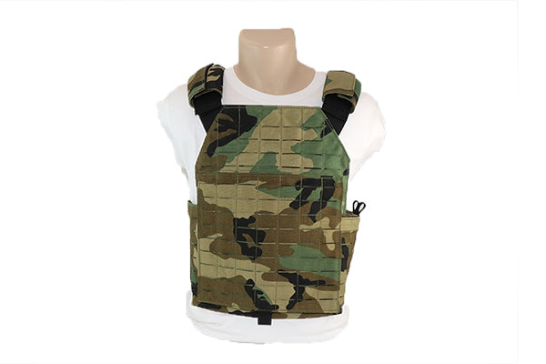 M81 Woodland Camo Laser Cut MOLLE Plate Carrier - Wilde Custom Gear