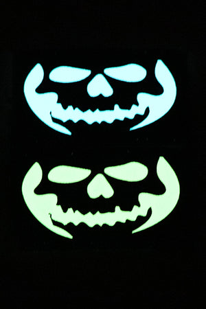 Front Skull Halloween Glow in the dark laser cut patch - Wilde Custom Gear