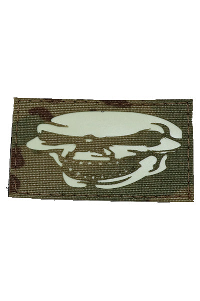 Full Laughing Skull Halloween Glow in the dark laser cut patch Multicam - Wilde Custom Gear