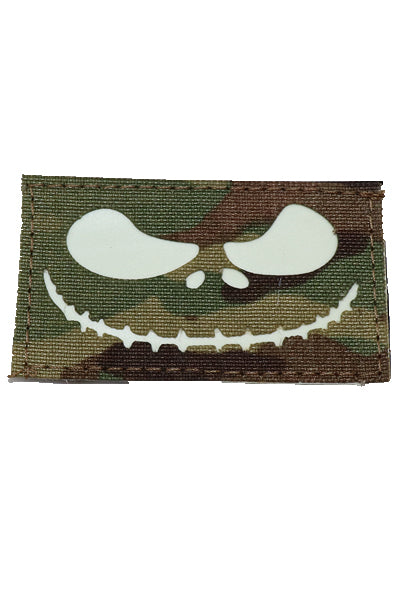 Jack Skellington Halloween Glow in the dark laser cut patch Multicam - Wilde Custom Gear