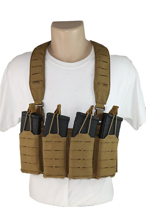Wilde Custom Gear Modular Laser Cut MOLLE Chest Rig - Coyote Brown AR15 Magazines Front