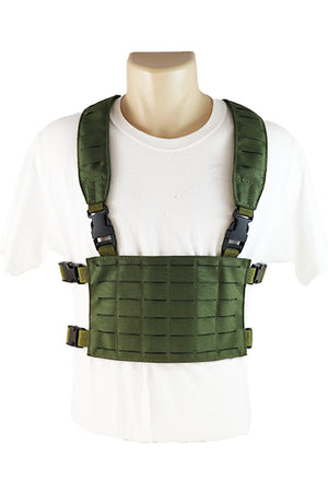 Wilde Custom Gear Modular Laser Cut MOLLE Chest Rig - OD Green Front