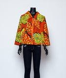Wax Print Jacket with Zip Front