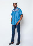 Jeans wax print shirt- Light Blue