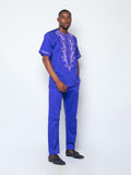 Front Design Short Sleeve Kaftan- Sea Blue