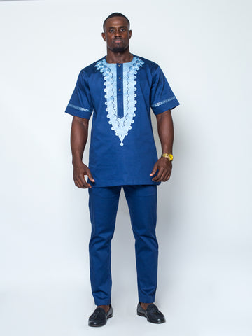 Front Design Short Sleeve Kaftan- Navy
