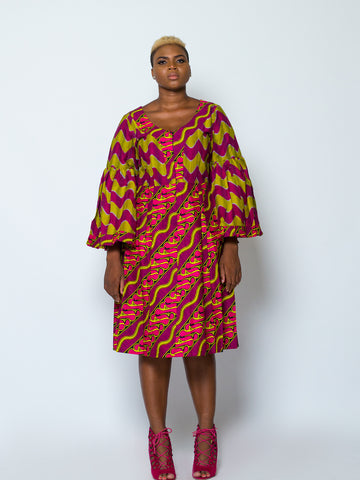 African Print Unique Sleeve Dress