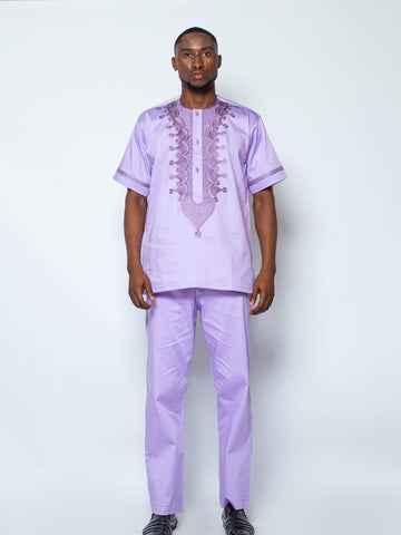 Front Design Short Sleeve Kaftan- Purple