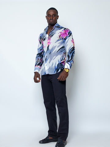 Flowered Voil Men Long Sleeve Shirt