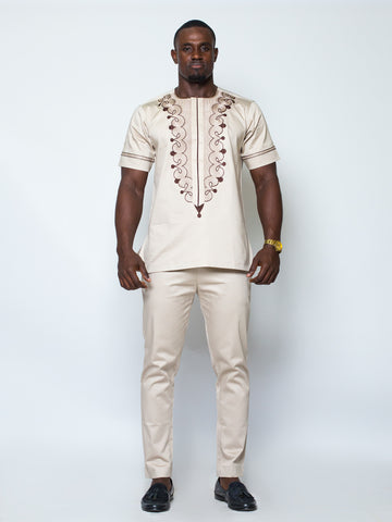 Front Design Short Sleeve Kaftan- Cream