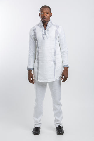 Designed Neck & Stripped Kaftan White