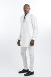 Designed Shoulder Kaftan White