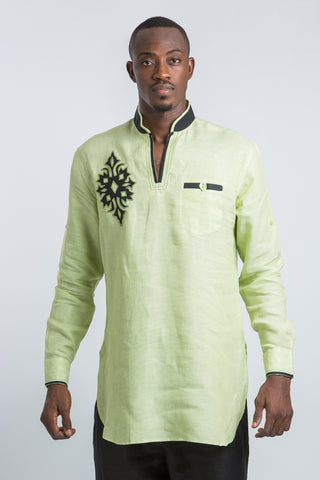 Diamond Design Kaftan Shirt-Lemon Green