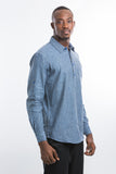 Linen pocket design long sleeve shirt