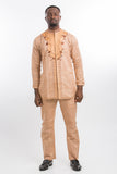 Front Design Long Sleeve Kaftan  Beige