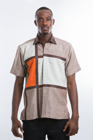 Brown Lined linen Shirt