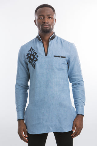 Diamond Design Kaftan Shirt-Light Blue