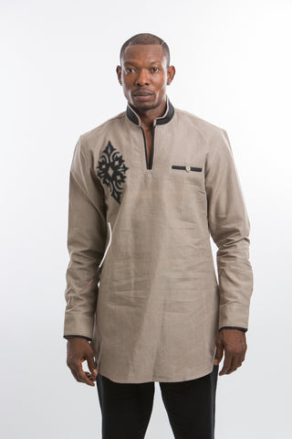 Diamond Design Kaftan Shirt- Light Brown