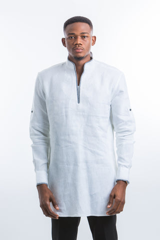 Designed neck & Stripped Kaftan Shirt- White