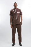 Modern Design Linen Kaftan Brown